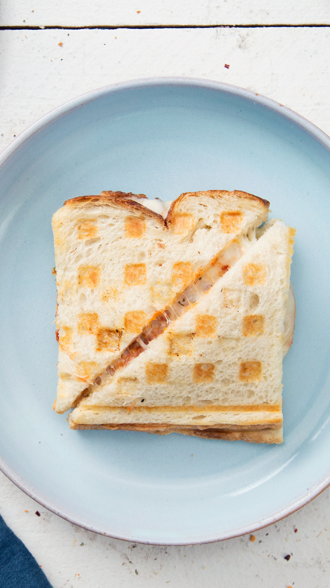 Garlic Bread Waffle Chicken Parm Grilled Cheese