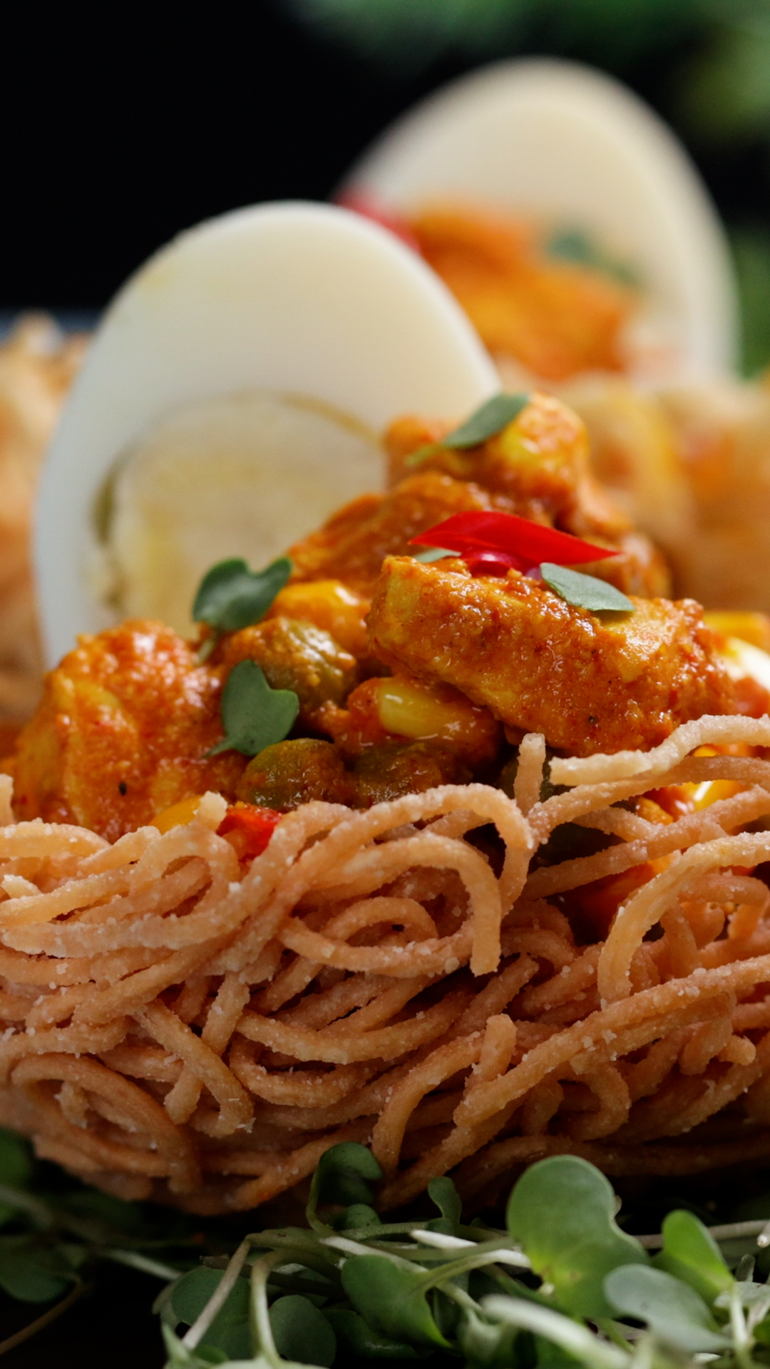 Fried Noodle Nests with Indian Chicken Gravy
